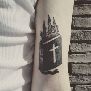 Flaming bible (IG-@hikari_five) #hikarifive #hikari #hikari5 #southkorea #southkoreantattooartist #southkorean #BibleTattoo #blackwork #fire #blasphemy