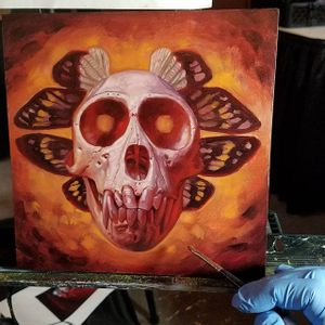 A painting of a monkey's skull backgrounded by moths' wings via Christian Perez (IG—christian1perez). #ChristianPerez #fineart #moths #monkeyskull #oilpaintings #skulls