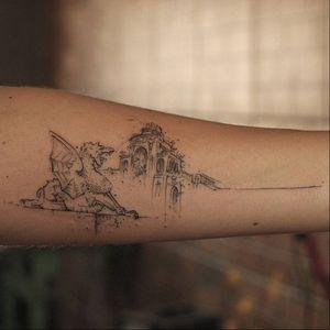 Graphic tattoo made at La Bottega dell'Arte #labottegadellarte #graphic #contemporary #architecture #sketch