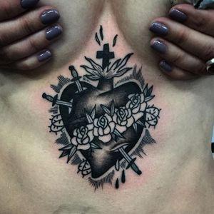 Sacred Heart Tattoo by Tony Torvis #sacredheart #blackworksacredheart #traditional #traditionalblackwork #blackwork #blackink #blackworkartist #TonyTorvis