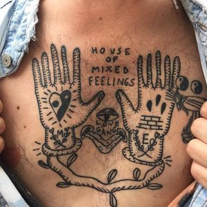 Chest tattoo by Francisca Silva #ignorantart #ignorantblackwork #ignorantstyle #ignorant #hands #yingyang #contemporary #minimalart #minimalism #blackwork #blckwrk #FranciscaSilva