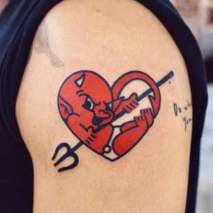 Lil Devil by Woo Loves You #WoohyunHeo #Woolovesyou #color #devil #heart #demon #trident #spear #red #love #evil #cute #tattoooftheday