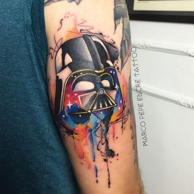 Darth Vader #MarcoPepe #gringo #watercolor #aquarela #neotraditional #traditional #neotrad #tradicional #darthvader #starwars #nerd #geek #movie #filme #sith #darkside