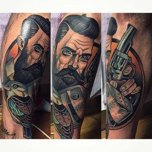 Ned Kelly Tattoo by Alex Dörfler #NedKelly #NedKellyTattoo #OutlawTattoo #FolkloreTattoos #AustralianTattoos #AlexDorfler