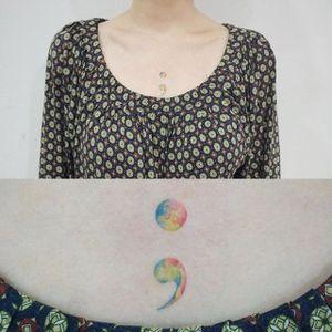 Semicolon tattoo by Doy. #doy #tattooistdoy #southkorea #southkorean #semicolon #watercolor