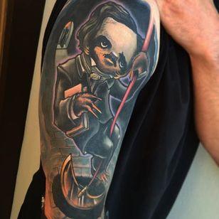 Edgar Allen Sloth Tattoo by Eddie Stacey #sloth #slothtattoo #slothtattoos #slothdesign #funtattoos #EddieStacey