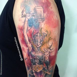 Thor Tattoo by Dell Nascimento #thor #watercolor #watercolorartist #contemporary #DellNascimento