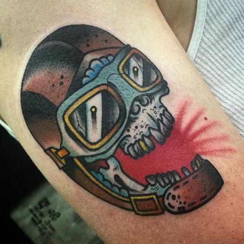 Pilot Skull Tattoo by Dave Borjes #pilotskull #skull #traditional #DaveBorjes