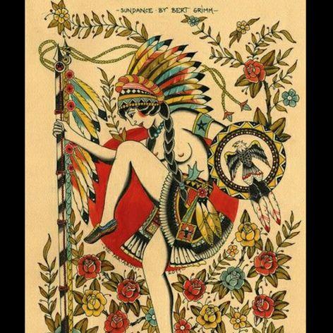 "Bert Grimm's famous ""Sundance"" flash design. #BertGrimm #Sundancer #tattoohistory #traditional"