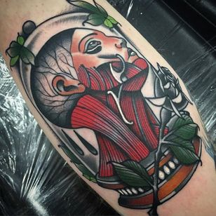 Anatomical Head Tattoo by Myles Vear #anatomical #anatomicalhead #anatomy #scientific #MylesVear