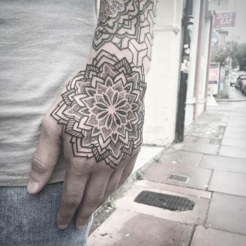 Mandala tattoo by Chris Bint #ChrisBint #Bintt #mandala #blackandgrey #mandalastyle #dotwork #patternwork