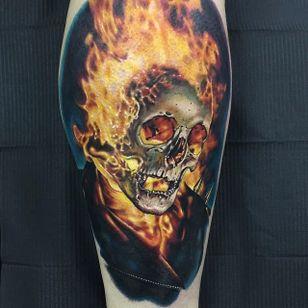 Ghost Rider Tattoo #GhostRider #Portrait #ColorPortrait #ColorRealism #PopCulture #AlexRattray
