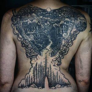 Tattoo by Noel'le Longhaul #NoelleLonghaul #linework #blackwork #dotwork #illustrative #nature #landscape #etching #forest #stars #stairs #trees #squirrel #door #smoke #clouds #mountains #moon