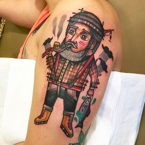 Super COOL ice fisherman tattoo done by Ginger Jeong. #gingerjeong #fisherman #icefishing #neotraditional #coloredtattoo