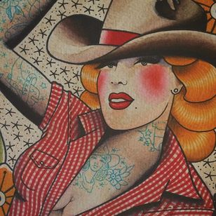 This cowgirl flash design by Howlin' Wolf (IG—howlinwolftattoo) makes us want to giddy-up. #cowgirl #flashart #HowlinWolf #pinup #traditional