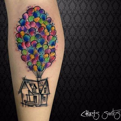 UP! #chrisSantos #balão #baloon #liberdade #free #voar #TatuadoresDoBrasil #colorido #colorful #aquarela #watercolor #disney #up #nerd #geek #filme #movie #casa #house