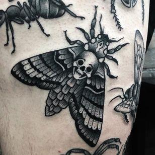 Moth Tattoo by Matt Craven Evans #moth #blackwork #blackworkart #darkart #blackworkartist #traditionalblackwork #MattCravenEvans