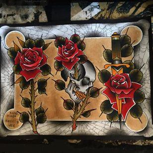Art by Dannii G #DanniiG #art #flash #rose #skull #dagger (Photo: Instagram @dannii_ltp13)