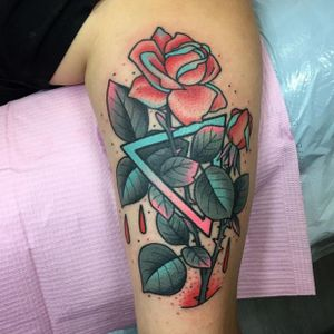 Rose and triangle tattoo #ChristinaHock #rose #flower #triangle #shape #neon