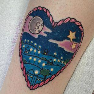 Night tattoo by Sam Whitehead. #SamWhitehead #girly #cute #night #heart #landscape