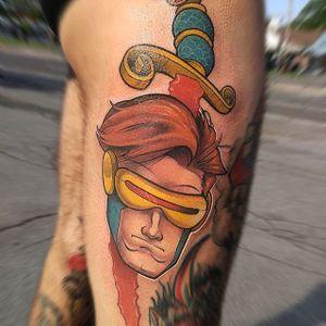 Cyclops Tattoo by Thom Bulman #cyclops #cyclopstattoo #newschool #popculture #popculturetattoos #newschoolpopculture #boldtattoos #popcultureartist #ThomBulman