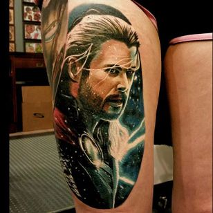 Thor Tattoo by Christopher Bettley #Thor #Portrait #PortraitTattoos #ColorPortraits #PortraitRealism #ChristopherBettley