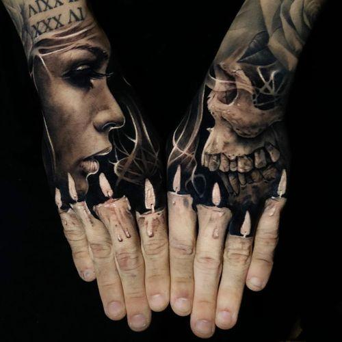 Literally the best tattoo by Jak Connolly #JakConnolly #blackandgrey #besttattoos #portrait #lady #face #skull #lips #candles #light #handpiece #matchingtattoos #surreal #smoke #hyperrealism #realism #realistic #tattoooftheday