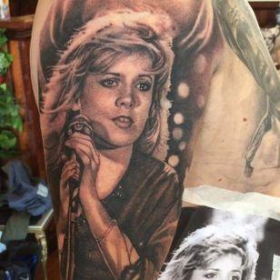 Stevie Nicks on stage. Tattoo by Teneile Napoli. #realism #blackandgrey #portrait #StevieNicks #TeneileNapoli