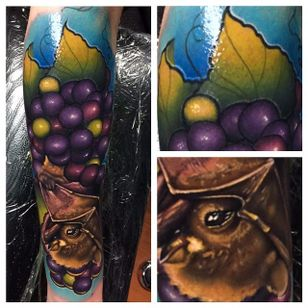 Color realism fruit bat tattoo by Yogi Barrett. #realism #colorrealism #bat #fruitbat #YogiBarrett