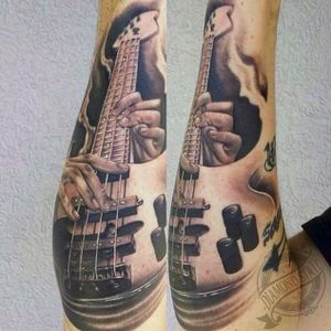 Fingered bass (via IG -- controlled_by_tattoos) #bass #bassguitar #basstattoo #bassguitartattoo