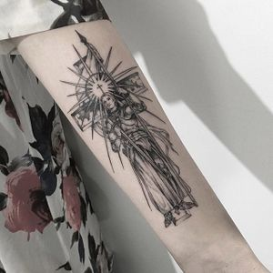 Fine line Joan of Arc tattoo by Tattooer Intat. #Intat #TattooerIntat #fineline #southkorean #joanofarc #history #hero #religious #icon