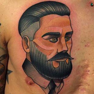 Smooth and Sharp Gentleman Tattoo by Kike Esteras @Kike.Esteras #KikeEsteras #Neotraditional #Neotraditionaltattoo #Barcelona #Gentleman