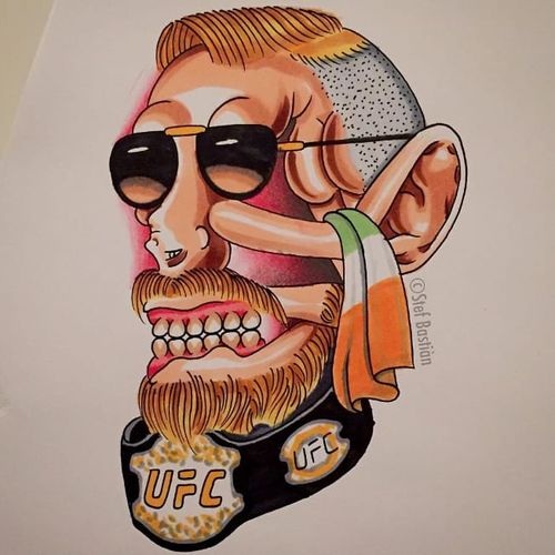 Surreal UFC tattoo skull head design by Stef Bastiàn #StefBastiàn #stefbastian #skull #ufc #fighting #funny #tattooflash