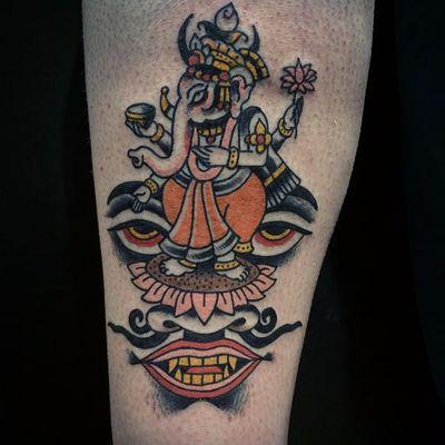 A depiction of Ganesha by Shaun Bailey (IG—bailey_tattooer). #dark #Ganesha #ShaunBailey #traditional