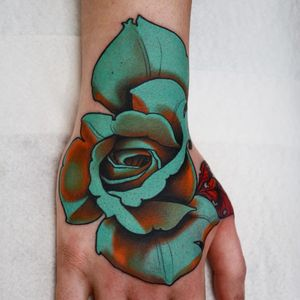 Blue rose by Jacob Wiman #JacobWiman #flowertattoos #color #neotraditional #flower #rose #floral #nature #leaves