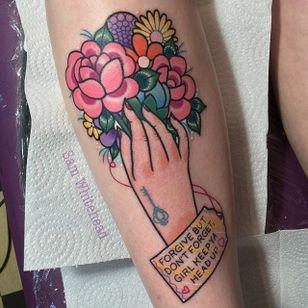 Bouquet tattoo by Sam Whitehead. #SamWhitehead #girly #cute #bouquet #selflove