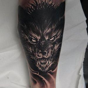 Werewolf Tattoo by Edgar Ivanov #Werewolf #BlackandGrey #BlackandGreyRealism #BlackandGreyTattoos #PortraitTattoos #Realism #EdgarIvanov