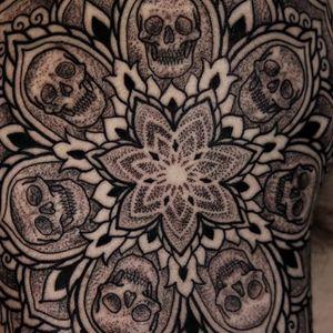 Mandala details by Kirk Nilsen #KirkNilsen #blackwork #mandala #skull #dotwork #linework #tattoooftheday