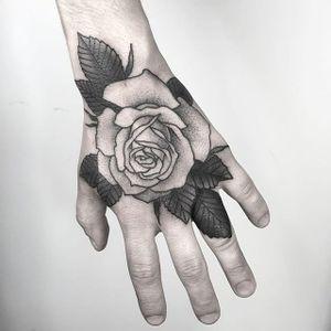 Rose Tattoo by Nathan Kostechko #rose #rosetattoo #blackandgreyrose #blackandgrey #blackandgreytattoo #blackandgreytattoos #fineline #finelinetattoo #blackwork #detailed #NathanKostechko