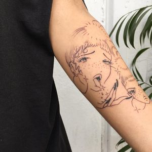 Hentai babes tattoo by Soto Gang #SotoGang #blackwork #fineline #linework #portrait #ladyhead #lady #tongue #stars #sparkle #hoopearrings #hand #nails #90s #anime #manga #hentai #freckles