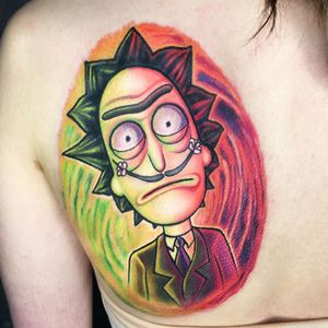 Dali meets Rick Sanchez tattoo by Ben Klishevskiy #BenKlishevskiy #rickandmortytattoos #rickandmorty #adultswim #color #cartoon #newtraditional #ricksanchez #salvadordali #painter #watercolor #surreal
