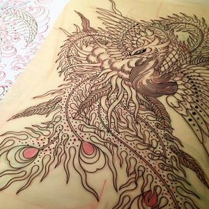Chris creates some perfect linework. Tattoo design by Chris O'Donnell. #ChrisODonnell #TraditionalJapanese #KingsAvenueTattoo #NewYorkTattooer #oriental #easternculture #peacock #asianart #illustration