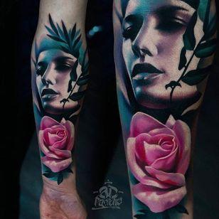 Girl Rose Tattoo by Alex Pancho #realism #colorrealism #realistictattoo #abstractrealism #realistictattoos #AlexPancho