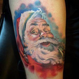 Santa Claus enjoys a frosty beverage. #coke #santa