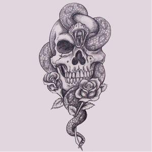 Sabe quem fez este desenho? Conta pra gente! #DarkMark #MarcaNegra #MarcaNegraTattoo #HarryPotter #HarryPotterTattoo #Skull #Snake