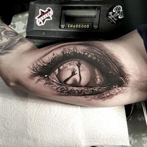 Creepy eye tattoo by Luke Sayer #LukeSayer #blackandgrey #realistic #horror #eye #haunted