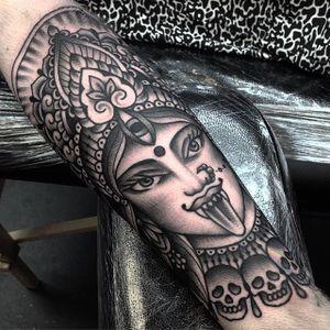 Blackwork Kali Tattoo by Jack Peppiette #BlackworkKali #Kali #KaliTattoo #BlackworkTattoos #Hindu #HinduTattoos #JackPeppiette