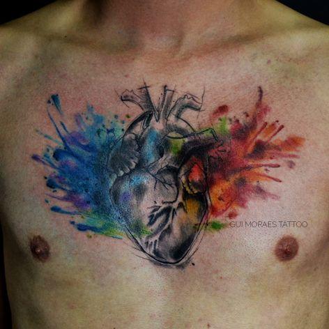 Por Guilherme Moraes #GuilhemeMoraes #brasil #brazil #brazilianartist #tatuadoresdobrasil #aquarela #watercolor #sketchstyle #coração #heart #anatomicalheart #coraçãoanatomico