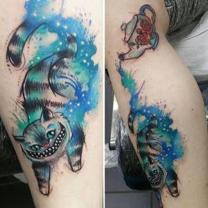 Cheshire cat tattoo by Josie Sexton #JosieSexton #cheshirecat #aliceinwonderland #watercolour #sketch (Photo: IG-josiesexton)