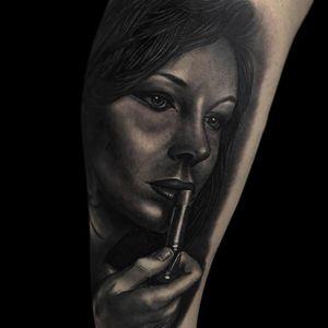 Portrait tattoo by Jumilla Olivares #JumillaOlivares #blackandgrey #realistic #portrait #dark